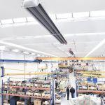 Aufnahme von oben, die einen Dunkelstrahler von Schwank mit der Brennwerttechnik hybridSchwank hydro zeigt.